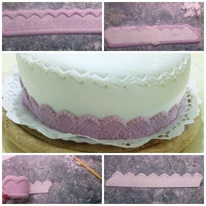 tortadíszítés házilag legyező mintás bordűrrel