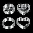 4 részes fém Metaltex linzer kiszúró készlet