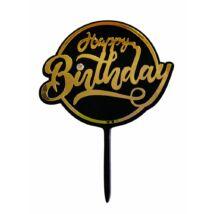 Fekete Happy Birthday sziluett beszúró