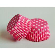 Pink alapon fehér pöttyös minimuffin papír 125 db