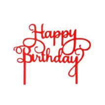 Piros Happy Birthday felirat tortadísz sziluett