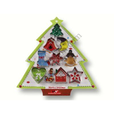 10 részes süti kiszúró készlet karácsonyfa alakú csomagolásban