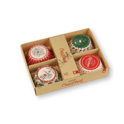 100 db-os 4 -féle feliratos karácsonyi muffin papír