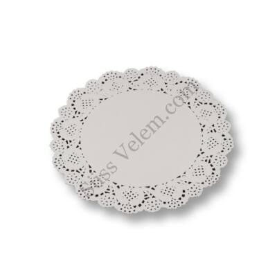 12 db 21,5 cm-es fehér kerek tortacsipke