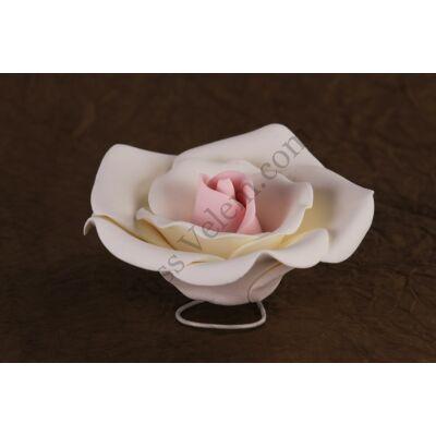 12 db nagy rózsaszín-fehér rózsa cukorvirág