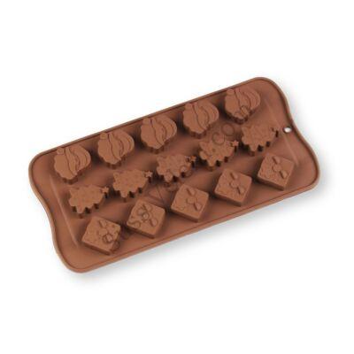 15 adagos Mikulás, karácsonyfa és ajándékcsomag karácsonyi szilikon csokoládé forma