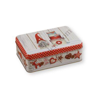 16*11 cm-es karácsonyi mintás szögletes fém sütisdoboz