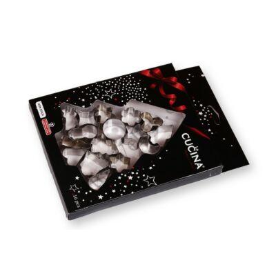 16 részes kis méretű karácsonyi süti kiszúró készlet fenyőfás csomagolásban