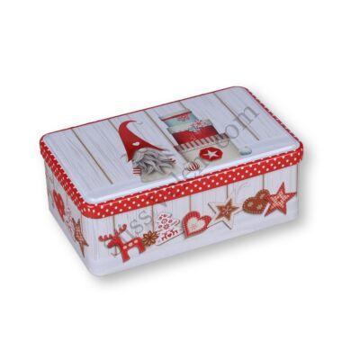 18*11 cm-es karácsonyi mintás szögletes fém sütisdoboz