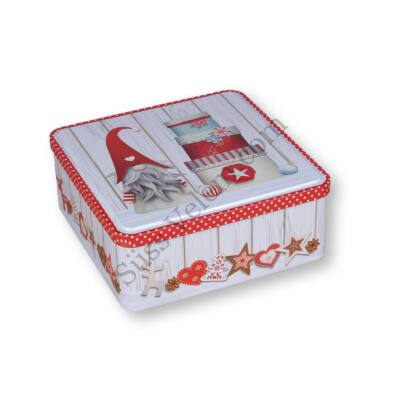 19,5*19,5cm-es karácsonyi mintás szögletes fém sütisdoboz