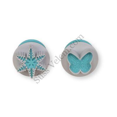 2 részes rugós pillangó és hópehely fondant kiszúró