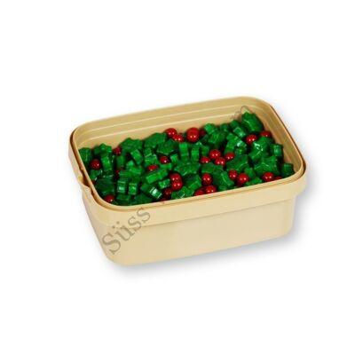 20 dkg zöld-piros karácsonyi magyal cukorgyöngy