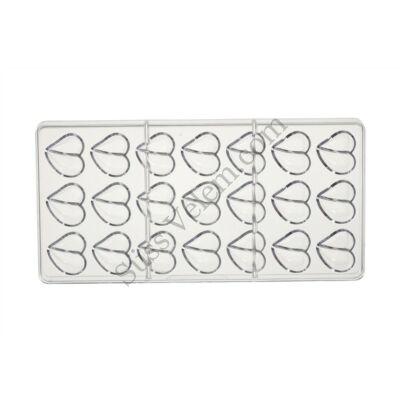 21 adagos vágott szív alakú polikarbonát bonbon forma