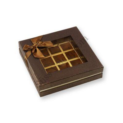 25 adagos barna betekintő ablakos masnis bonbon doboz