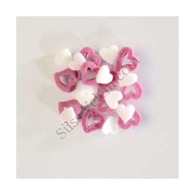 250 g rózsaszín és fehér szív alakú cukorkonfetti tortadekor