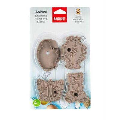 4 részesz Banquet állatos süti kiszúró és mintázó készlet
