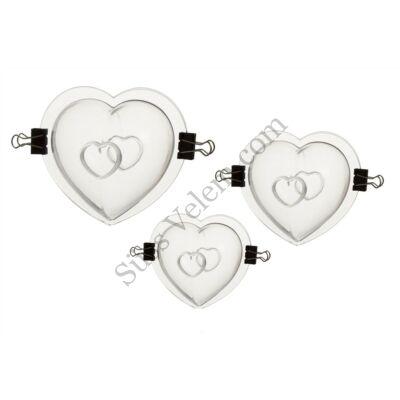 3 db szív alakú 3 D polikarbonát csokoládé öntőforma