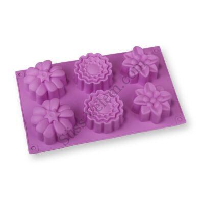 3 -féle virág mintás szilikon muffin sütőforma