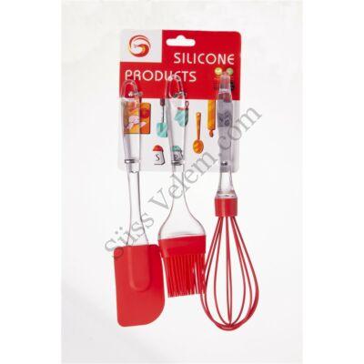 3 részes átlátszó nyelü szilikon konyhai eszköz készlet