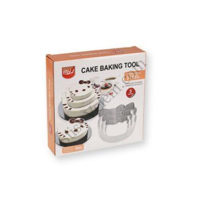 3 részes cicafej alakú tortakeret készlet