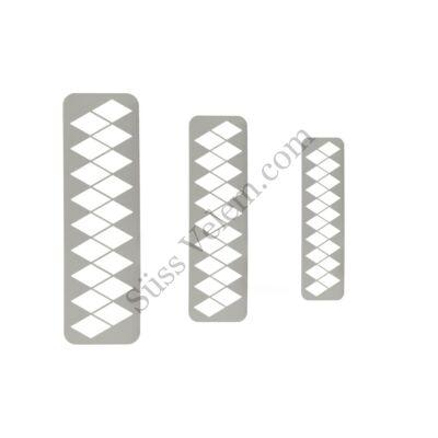3 részes geometrikus rombusz alakú fondant kiszúró készlet térbeli minta készítéshez