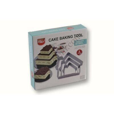 3 részes házikó alakú tortakeret készlet