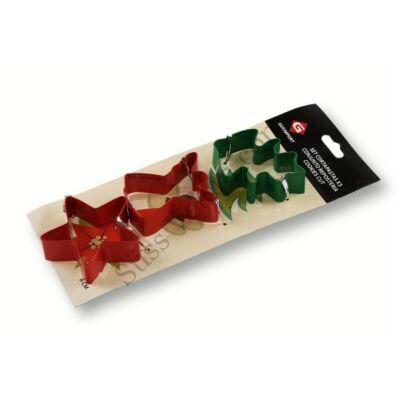 3 részes karácsonyi kiszúróforma szett angyalka, fenyő és csillag formával