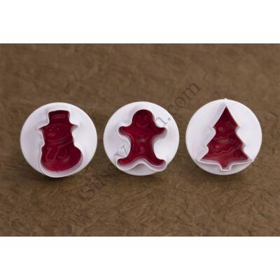 3 részes karácsonyi rugós fondant kiszúró készlet