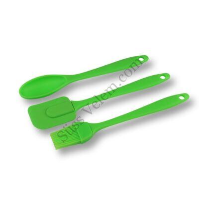 3 részes konyhai eszköz készlet (ecset, spatula és kanál)