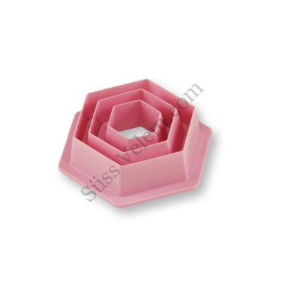 3 részes műanyag hatszög sütemény kiszúró