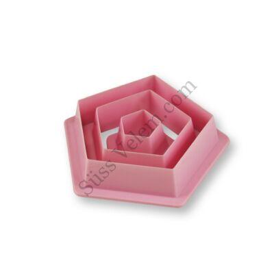 3 részes műanyag ötszög süti kiszúró