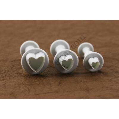 3 részes műanyag szív alakú fondant kiszúró