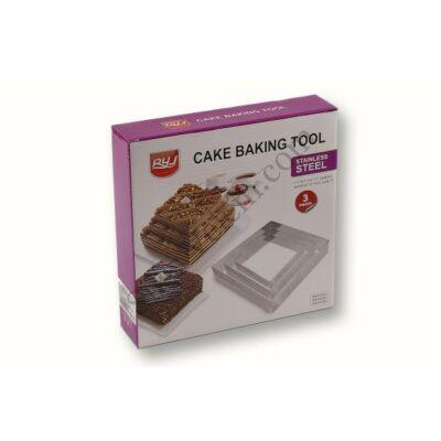3 részes négyzet alakú tortakeret készlet