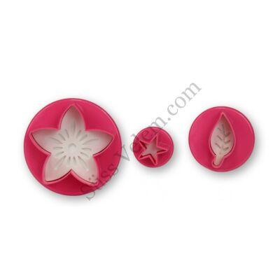 3 részes virág, levél és csillag alakú rugós fondant kiszúró készlet