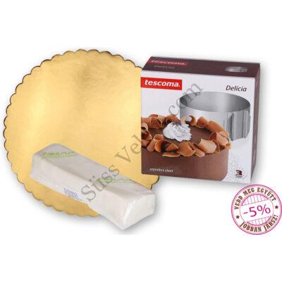30 cm arany fodros tortakarton (5db), Tescoma Delicia állítható tortakarika és Formix fondant massza szett