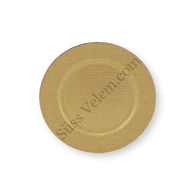 33 cm-es műanyag arany színű strasszos süteményes tál