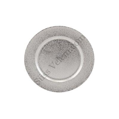 33 cm-es műanyag  ezüst színű süteményes tál