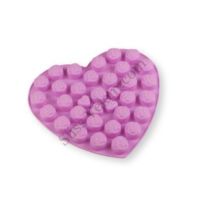 34 adagos szív alakú rózsa mintás szilikon bonbon forma