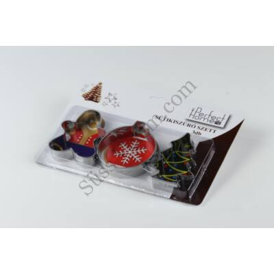 3 részes karácsonyi kiszúróforma szett karácsonyfadísz, fenyő és mézi formával