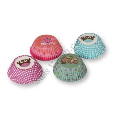 4 -féle színes bagoly mintás muffin papír (100 db)