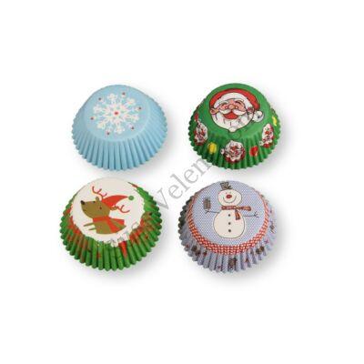 4 -féle színes karácsonyi muffin papír (100 db)