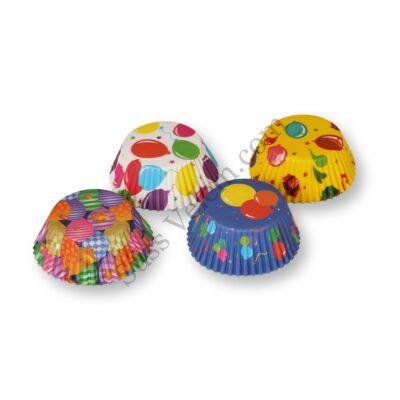 4 -féle színes lufi mintás muffin papír (100 db)