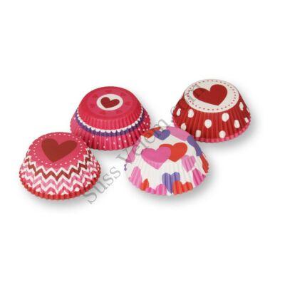 4 -féle színes szív mintás muffin papír (100 db)