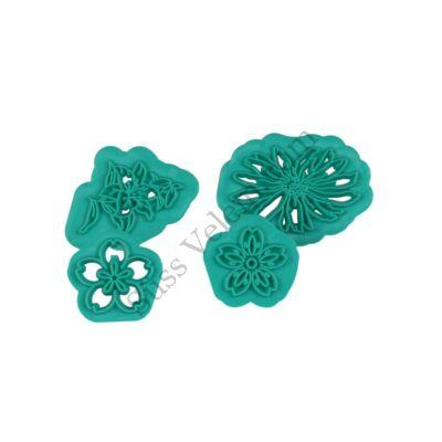 4 -féle virág alakú fondant mintázó