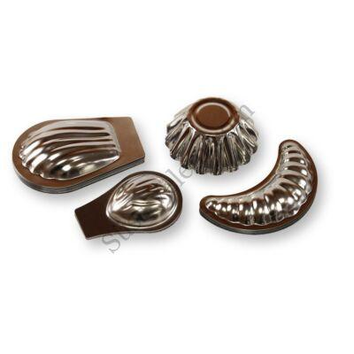4 részes hagyományos sütőforma készlet (dió, kosárka, kifli, kagyló)