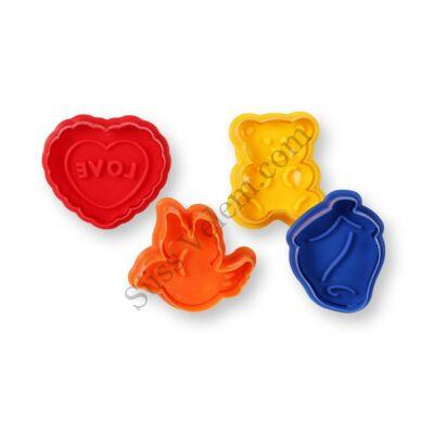 4 részes LOVE & Bear rugós fondant kiszúró készlet