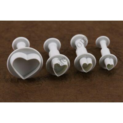 4 részes rugós műanyag szív fondant kiszúró