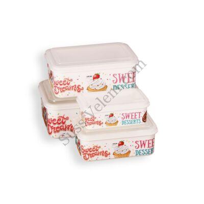 4 részes süti mintás tároló doboz készlet
