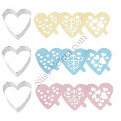 Szív alakú Zenker sütikiszúró és mintázó készlet