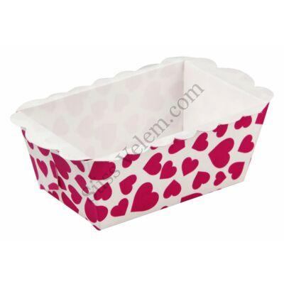 8 db fehér alapon pink szíves Zenker hosszúkás mini papír sütőforma